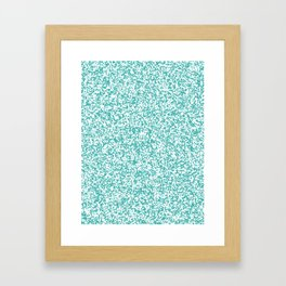 Tiny Spots - White and Verdigris Framed Art Print
