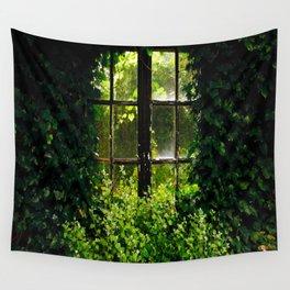 Green idyllic overgrown cottage garden window Wall Tapestry