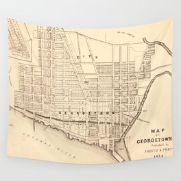 Vintage Map of Georgetown (Washington D.C.) 1876 Wall Tapestry