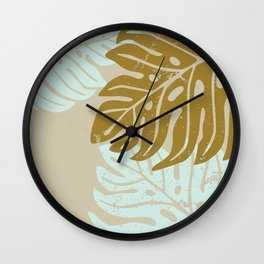 Hawaiian leaves pattern N0 3, Art Print collection, illustration original pop art graphic print Wall Clock