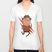freddy krueger V-neck T-shirts featuring Freddy by Daniel Mackey