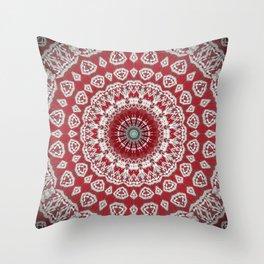 Red White Bohemian Mandala Design Throw Pillow