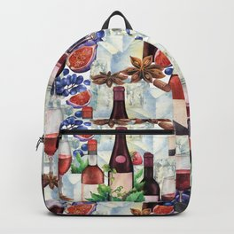 Watercolor wine glasses and bottles decorated with delicious food Backpack