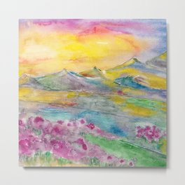Sunset in the mountains. Watercolor painting Metal Print