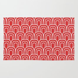 Rainbow Scallop Pattern Red Rug