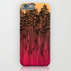 FOREST THROUGH THE TREES 12 Hot Pink Magenta Orange Black Landscape Ombre Abstract Painting Outdoors iPhone 6s Slim Case