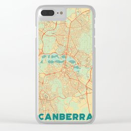 Canberra Map Retro Clear iPhone Case