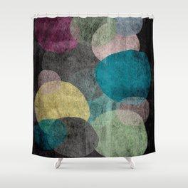 Modern abstract art sheer circles on black Shower Curtain