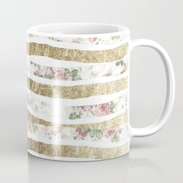 Girly Pink Roses and Faux Gold Brushstrokes Coffee Mug