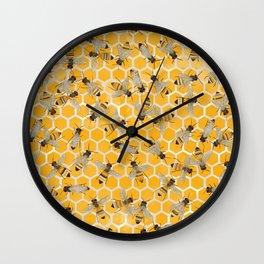 Bees on Honeycomb Wall Clock