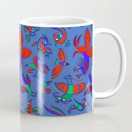 Pattern with Firebirds (on blue background) Coffee Mug