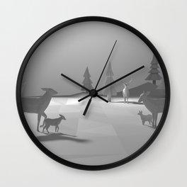 Low Poly Deer Herd - Fawns Wall Clock