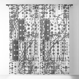 analog synthesizer system - modular black and white Sheer Curtain