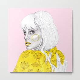 Yellow girl on pink Metal Print