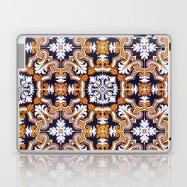 Portuguese Tiles Azulejos Blue Orange Pattern Laptop & iPad Skin