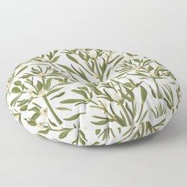 Mistletoe Leaves / Christmas Florals, Holiday Decor Floor Pillow