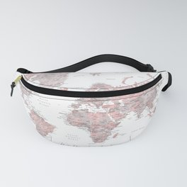 We travel not to escape life, dusty pink and grey watercolor world map Fanny Pack