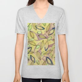 October Leaves with yellow purple pink blue and green Unisex V-Neck
