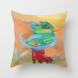 a skating snozzleberryduck day in autumn Throw Pillow