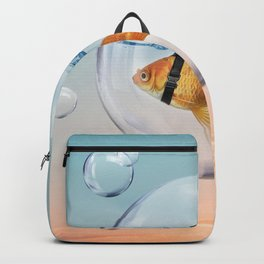 Shark Fin Goldfish in a Bubble Backpack