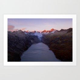 Aerial view of Grimsel Oberaar mountain lake at dawn, Berner Oberland, Switzerland Art Print