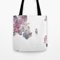 copenhagen Tote Bags featuring Copenhagen map by MapMapMaps.Watercolors