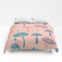 Dancing mushrooms in pink Comforters