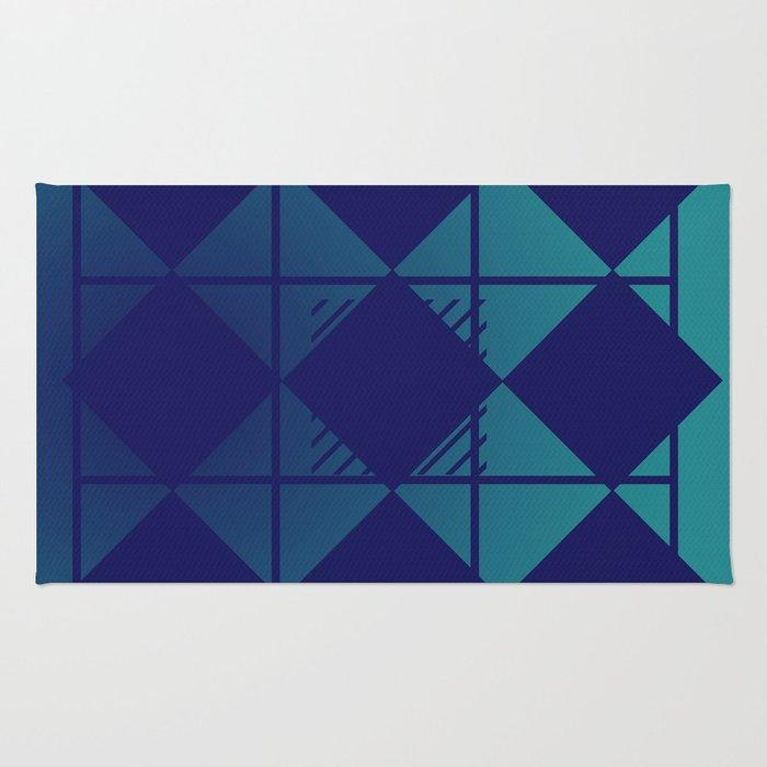 Blue,Diamond Shapes,Square Rug
