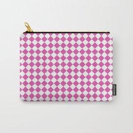 Geometric modern pink white diamonds pattern Carry-All Pouch