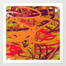 Orange Purple Green & Pink Abstract Art Print