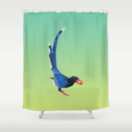 Low-poly blue bird Shower Curtain