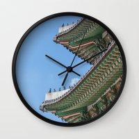 korea Wall Clocks featuring Gyeongbokgung Palace Lines_South Korea by Jennifer Stinson