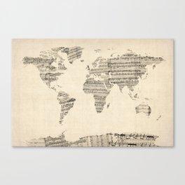Old Sheet Music World Map Canvas Print