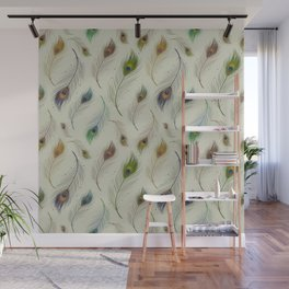 Colorful Peacock Feather Pattern Wall Mural