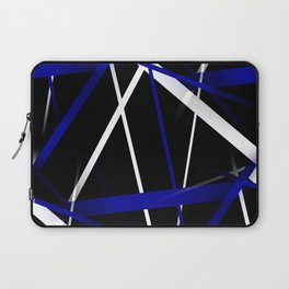 Seamless Royal Blue and White Stripes on A Black Background Laptop Sleeve
