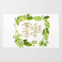 Don't worry be hoppy (green and gold palette) Rug