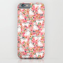 Havanese Floral - dog, dogs, cute dog, white dog, flowers, florals, pink floral iPhone Case
