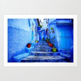 Blue Pearl Chefchaouen - Stairs Art Print