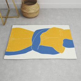 Lovers Nude Blue and Yellow- Minimal Line Drawing  Rug