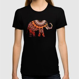 Exotic Brocaded Brown Rust and Orange Elephant T-shirt