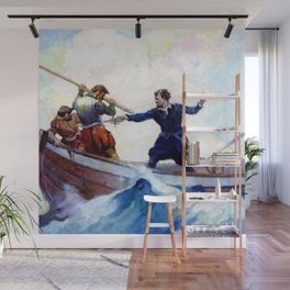 """""""A Pretty Fight"""" Pirate Art by Frank Schoonover Wall Mural"""
