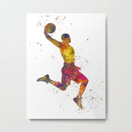 Basketball player 02 in watercolor Metal Print