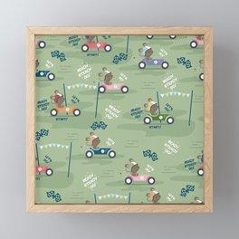 Ready to race mouse pattern Framed Mini Art Print