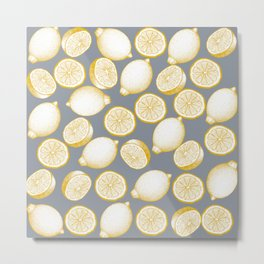 Lemons On Grey Background Metal Print