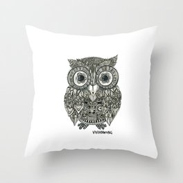 Zentangle Owl Fineliner Pen Drawing Throw Pillow