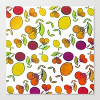 fruits Canvas Prints featuring Fruits by VessDSign