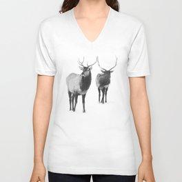 Winter Elk Photograph Unisex V-Neck