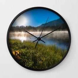 Morning Glory - Duck Swimming in Mountain Lake in Colorado Wall Clock