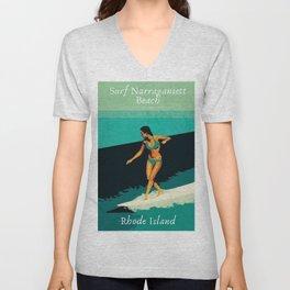 Surf Narragansett Beach, Rhode Island Vintage Surfing Big Swell Poster - New England Surfers Unisex V-Neck