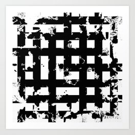 Splatter Hatch - Black and white, abstract hatched pattern Art Print